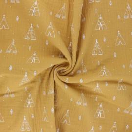 Tissu double gaze de coton Tipi - jaune moutarde x 10cm