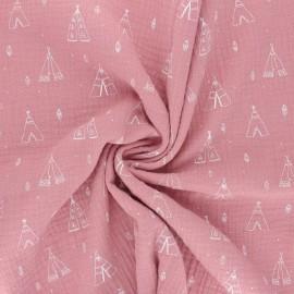 Double cotton gauze fabric - pink Tipi x 10cm