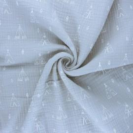 Tissu double gaze de coton Tipi - gris x 10cm