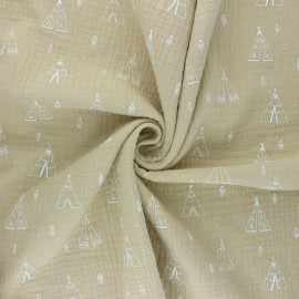 Double cotton gauze fabric - beige Tipi x 10cm