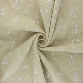 Tissu double gaze de coton Tipi - beige x 10cm