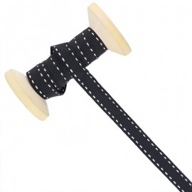 10 mm Side Stitched Ribbon Roll - Black