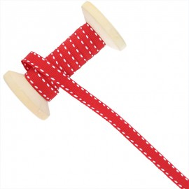 Ruban Surpiqué 10 mm  - rouge - Bobine de 25 m
