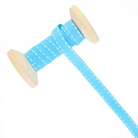 Ruban Surpiqué 10 mm  - bleu - Bobine de 25 m