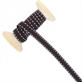 10 mm Side Stitched Ribbon Roll - Brown
