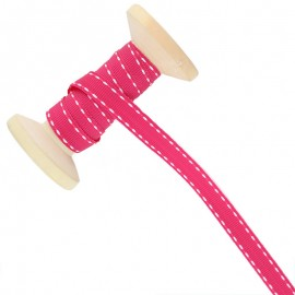 Ruban Surpiqué 10 mm  - rose - Bobine de 25 m