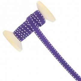 Ruban Surpiqué 10 mm  - violet - Bobine de 25 m
