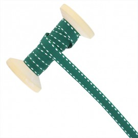 10 mm Side Stitched Ribbon Roll - Pine Green