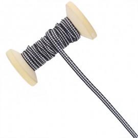 6 mm Gingham Ribbon Roll - Black