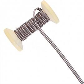 6 mm Gingham Ribbon Roll - Brown