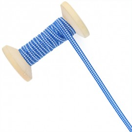 6 mm Gingham Ribbon Roll - Blue