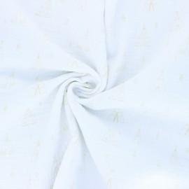 Double cotton gauze fabric - white Tipi x 10cm