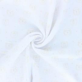 Tissu double gaze de coton Space animals - blanc x 10cm