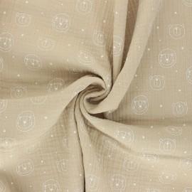 Double cotton gauze fabric - beige Space animals x 10cm