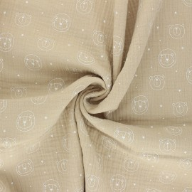 Tissu double gaze de coton Space animals - beige x 10cm