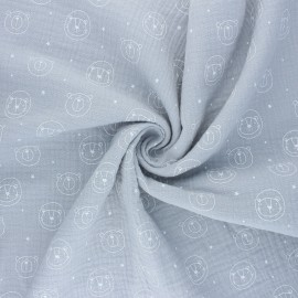 Double cotton gauze fabric - grey Space animals x 10cm