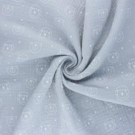 Tissu double gaze de coton Space animals - gris x 10cm