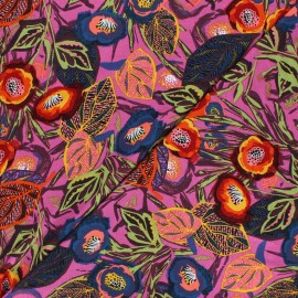 Viscose Jersey Fabric - purple Exotic Flower x 10 cm
