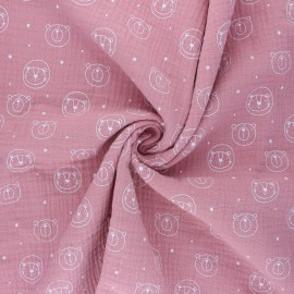 Tissu double gaze de coton Space animals - rose x 10cm