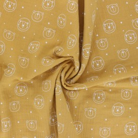 Double cotton gauze fabric - mustard yellow Space animals x 10cm