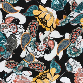Tissu Jersey Viscose Paisley Flower - noir x 10 cm