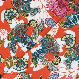 Tissu Jersey Viscose Paisley Flower - orange x 10 cm