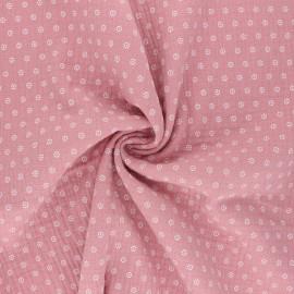 Tissu double gaze de coton Florette - rose x 10cm