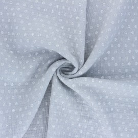 Tissu double gaze de coton Florette - gris x 10cm