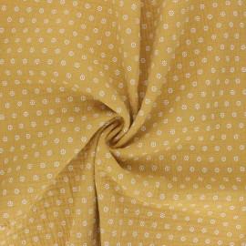 Tissu double gaze de coton Florette - jaune moutarde x 10cm