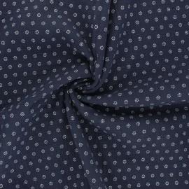 Tissu double gaze de coton Florette - bleu marine x 10cm