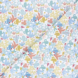Stitched cotton fabric - white Cactus field x 10cm