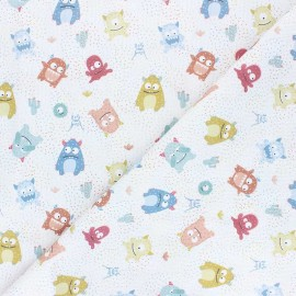 Stitched cotton fabric - white Cute monsters x 10cm