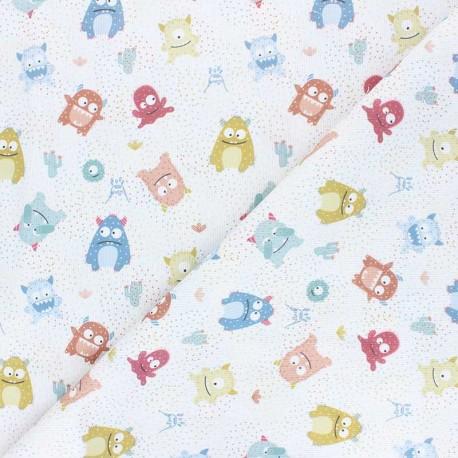 Tissu piqué de coton Cute monsters - blanc x 10cm