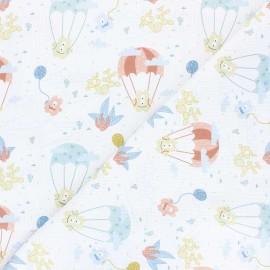 Tissu piqué de coton Flying monsters - blanc x 10cm