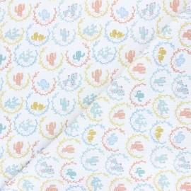 Tissu piqué de coton Cactus - blanc x 10cm