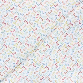 Stitched cotton fabric - white Tillas x 10cm