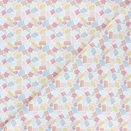 Stitched cotton fabric - white Rayada x 10cm