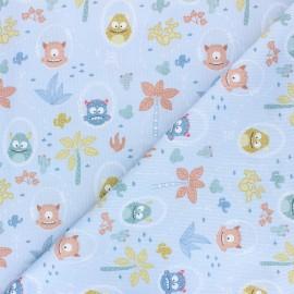 Tissu piqué de coton Desert monsters - bleu ciel x 10cm
