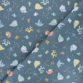 Tissu piqué de coton Night monsters - bleu acier x 10cm