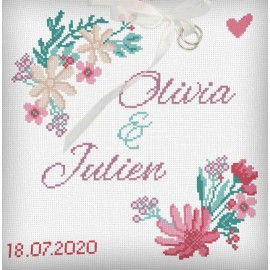 Wedding cushion wildflowers embroidery kit