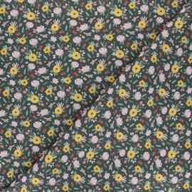 Tissu coton Jardin fleuri - vert kaki x 10cm