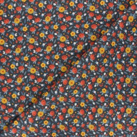 Tissu coton Jardin fleuri - bleu marine x 10cm
