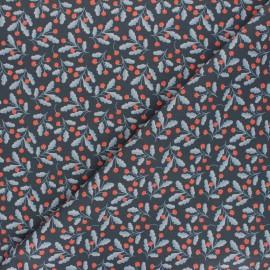 Tissu coton Fraise des bois - bleu nuit x 10cm