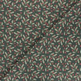 Cotton fabric - khaki green Fraise des bois x 10cm