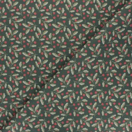 Tissu coton Fraise des bois - vert kaki x 10cm