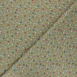 Tissu coton Colorful strawberry - vert kaki clair x 10cm