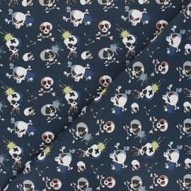 Tissu coton Terrific skull - bleu marine x 10cm