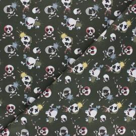 Cotton fabric - khaki green Terrific skull x 10cm