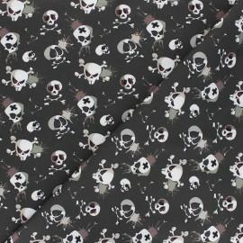 Cotton fabric - dark khaki Terrific skull x 10cm
