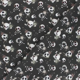 Tissu coton Terrific skull - kaki foncé x 10cm